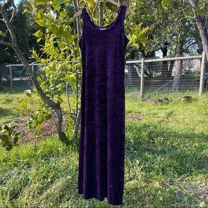 Vintage 90s Purple Velvet Maxi Dress Velour